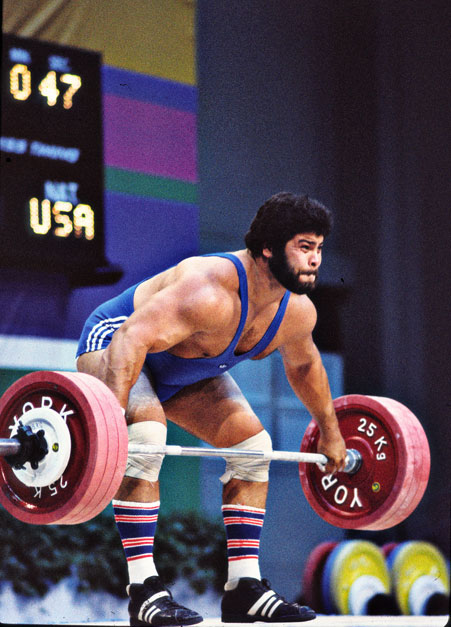 Photo of Olympics – 1984 Los Angeles – Weightlifting – Super Heavywts – AUS Dean Lukin & USA Mario Martinez