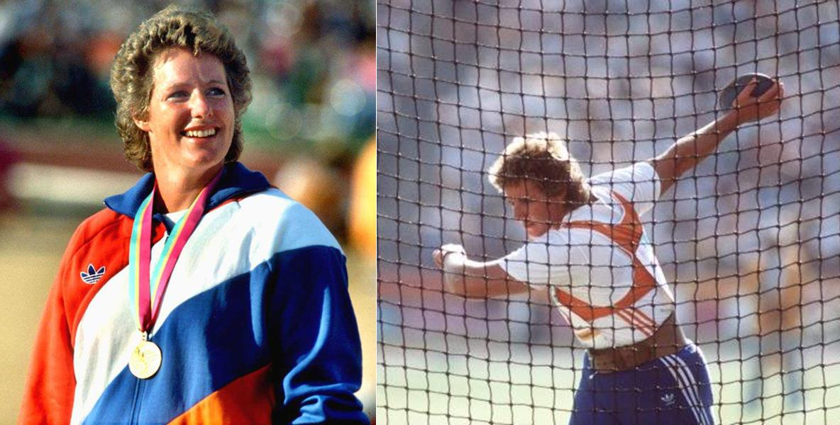 Photo of Olympics – 1984 Los Angeles – Track & Field – Womens Discus Finals – HOL Ria Stalman & USA Leslie Denise