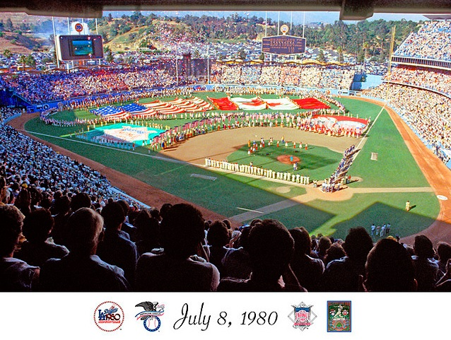 Photo of MLB – 1980 All Star Game – Howard Cosell & Bob Ueker & Jim Palmer & Al Michaels