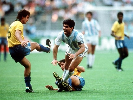 Photo of Soccer – 1990 FIFA World Cup – Knockout Stage – Argentina VS Brazil – Featuring Diego Maradona