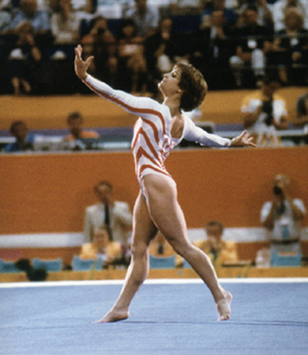 Photo of Gymnastics – 1984 McDonalds USGF American Cup – Indianapolis IN – Mary Lou Retton & Tim Daggett
