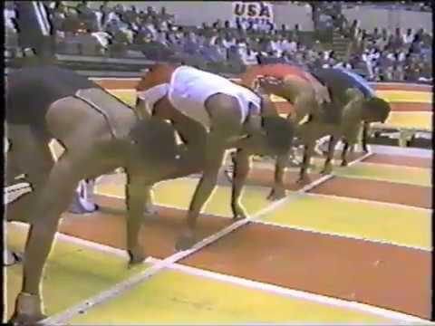 Photo of Track & Field – 1987 – San Diego Indoor Invitational – Hurdler Greg Foster + Miler Steve Scott