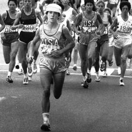 Photo of Olympics – 1984 – L A Games – Womens Marathon – USA Joan Benoit + NOR Grete Waitz – 1st 5 Miles