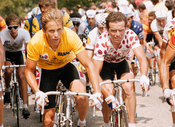 Photo of Cycling – 1985 – Tour De France – Bernard Hinault + Greg LeMond + Stephen Roche