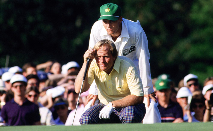Photo of Golf – 1986 – Masters Tournament – Final Round – Hosts Brent Musburger + Tom Weiskoff