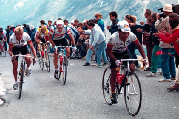Photo of Cycling – 1987 – Tour De France – IRE Tony Roche + ESP Pedro Delgado + FRA Jean-Francois Bernard