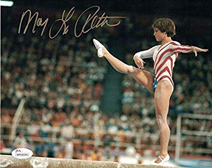 Photo of Gymnastics –  1985 – CBS Pat O'Brien Interviews Olympic Gold Medalist Mary Lou Retton At 35th NBA All Star Game