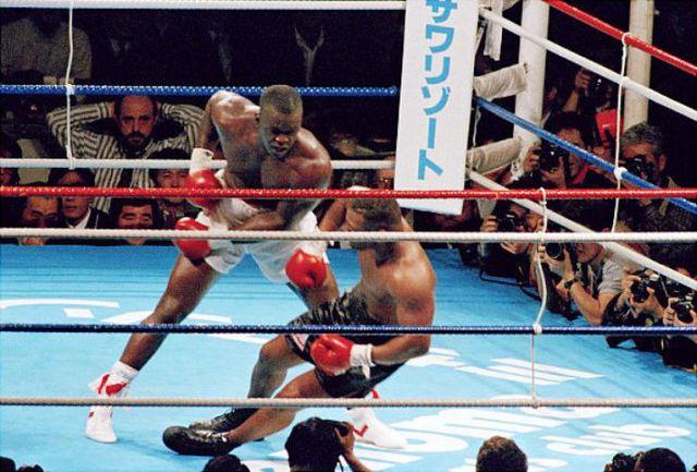 Photo of Boxing – 1990 – Heavywt Title Fight Douglas Vs Tyson –  Larry Merchant PostFight Interview With Winner Buster Douglas