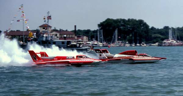 Photo of Speed Boat Racing – 1987 – ESPN Budweiser Emerald Cup – Interviews With Chip Hanaeur + Tom DEath