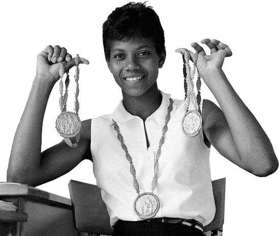 Photo of NCAAW Basketball – 1986 – CBS Sports Halftime Show – Featuring Olympic Gold Medal Winner Wilma Rudolph For The NCAA