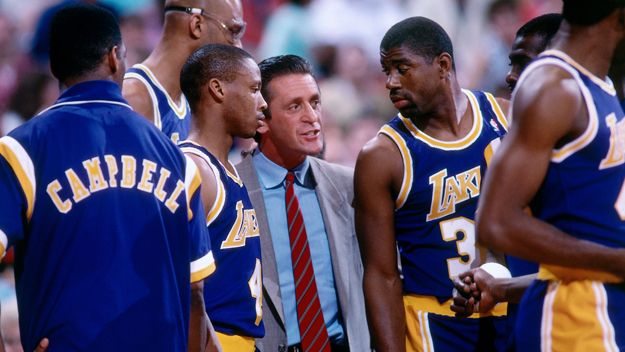 Photo of NBA  – 1987 – Brent Musburger Interviews Lakers Coach Pat Riley Prior To Finals Game 4 With Celtics