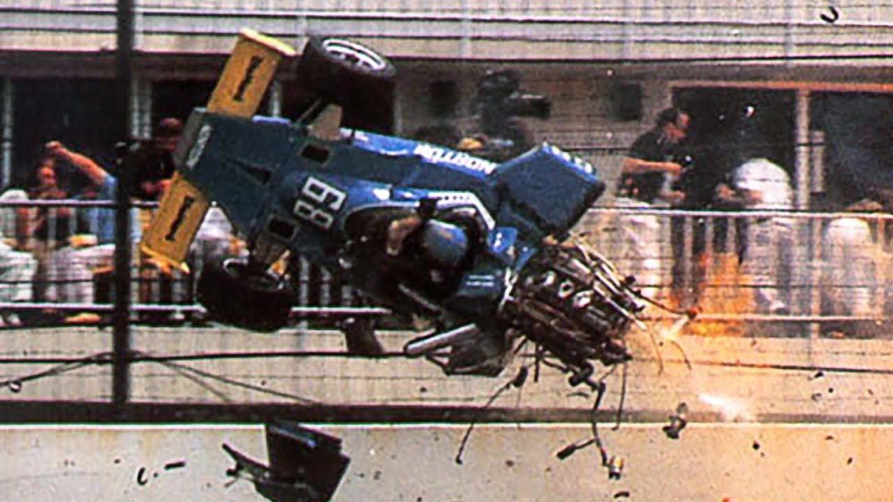 Photo of Auto Racing – 1987 – Indy 500 Special Feature – Driver Tom Sneva Hits The Wall And Ends His Day