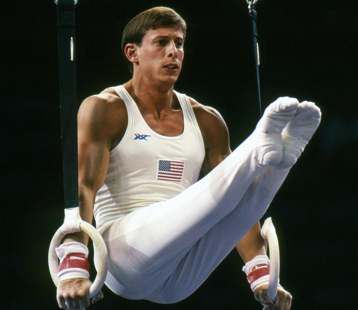 Photo of Gymnastics – 1985 – ABCs Peter Kormann Interviews USAs Tim Daggett + Mary Lou Retton At American Cup