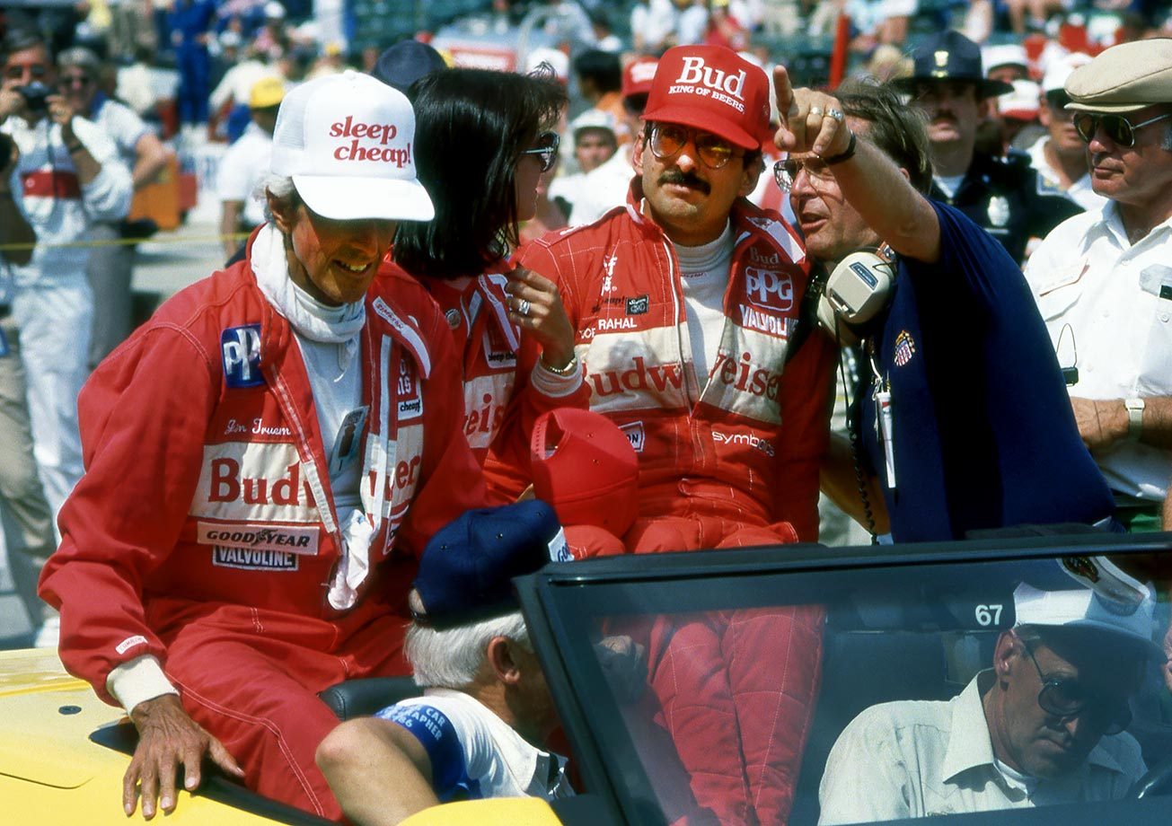 Photo of Auto Racing – 1986 – Joyful Time In The Winners Circle At Indy 500 With With Bobby Rahal + Jim McKay
