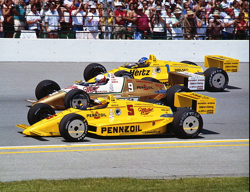 Photo of Auto Racing – 1986 – ABCs Jack Arute Interviews Pole Sitter Rick Mears Prior To Start Of Indy 500