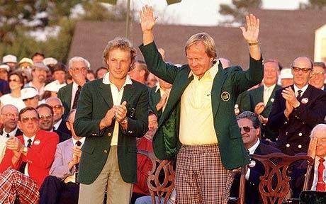 Photo of Golf – 1986 – Masters Final Round – CBS Brent Musburger + Tom Weiskopf + Hord Hardin Interview Jack Nicklaus After Winning