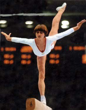 Photo of Gymnastics – 1980 – Exhibition – Women's Balance Beam – ROM Nadia Comaneci – With Jim McKay