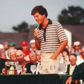 Photo of Golf – 1986 – The Masters – Brent Musburger Interview With Low Amateur Sam Randolph In Butler Cabin