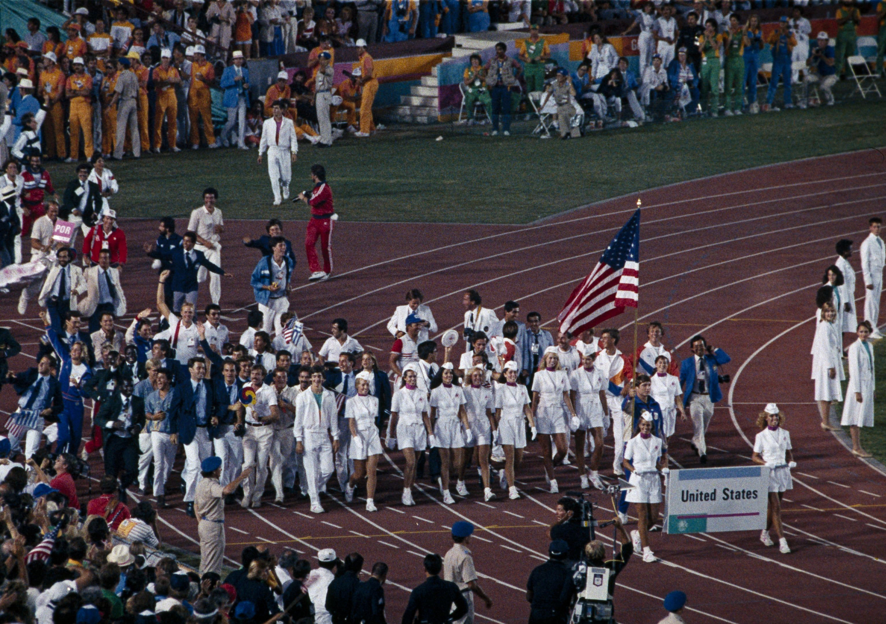 Photo of Olympics – 1984 – L A Games – Closing Ceremony – Entrance Of Country Flags And Olympic Athletes