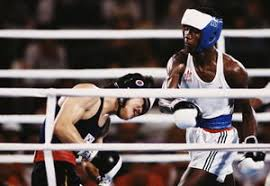 Photo of Olympics – 1984 – L A Games – Howard Cosell Interviews USA Welterwt Boxer Mark Breland Prior To Fite