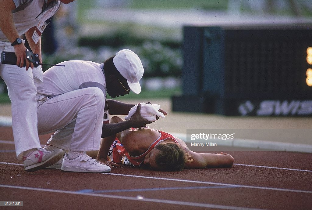 Photo of Olympics – 1984 – L A Games – Track Special – USA Henry Marsh Collapses At End Of Mens 3000m Steeple