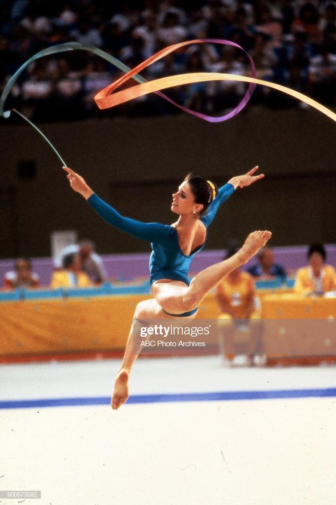 Photo of Olympics – 1984 – L A Games – Rhythmic Gymnastics Prelims – ROM Alina Dragan – With Al Trautwig