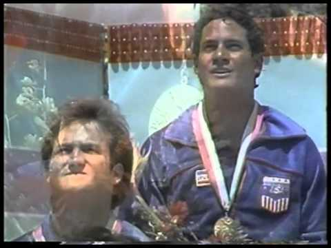 Photo of Olympics – 1984 – L A Games – Mens 10m Platform Diving Medal Ceremony – USA Greg Louganis Gold