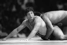 Photo of Olympics – 1984 – L A Games – Closing Ceremony – Donna de Varona Talks To USA Wrestler Jeff Blatnick