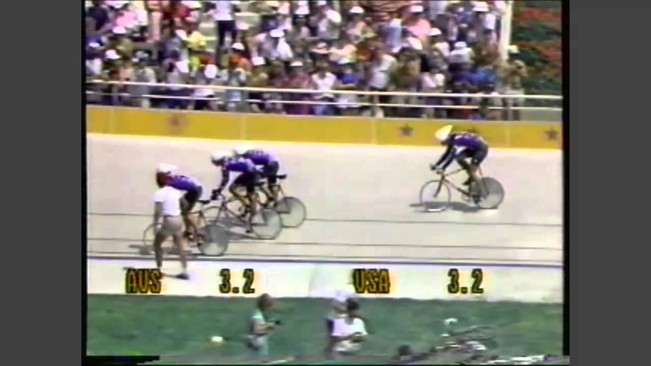 Photo of Olympics – 1984 – L A Games – Cycling Men;s Team Pursuit Quarterfinals – USA Vs Denmark – USA Wins