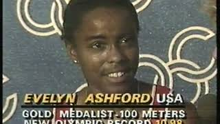 Photo of Olympics – 1984 – L A Games – Track – Donna De Varons Interviews USA 100m Gold Medal Evelyn Ashford