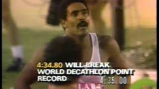 Photo of Olympics – 1984 – L A Games – Track – Mens Decathlon 1500m – GBR Daley Thompson + FRG Jurgen Hingsen + FRG Siegfried Wentz
