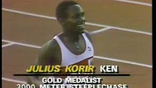 Photo of Olympics – 1984 – L A Games – 3000m Steeple Chase – KEN Korir 1st + FRA Mahmoud 2nd + USA Diemer 3rd