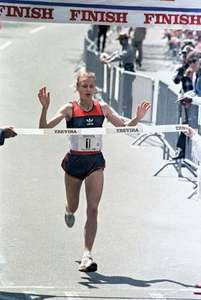 Photo of Olympics – 1984 – L A Games – Track – Womens Marathon – Jim Lampley Interview With Silver Medalist NOR Greta Waitz