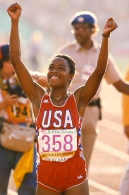 Photo of Olympics – 1984 – L A Games – Track – Womens 100m Finals – USA Evelyn Ashford Gold + USA Alice Brown