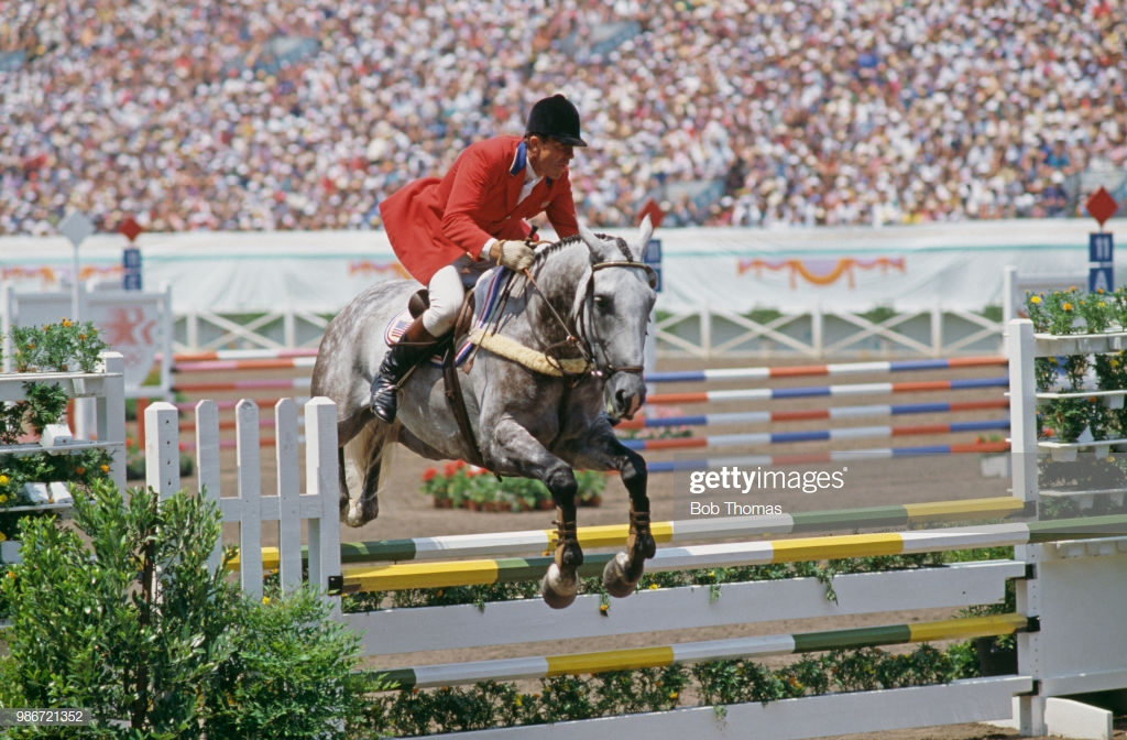 Photo of Olympics – 1984 – L A Games – Equestrian – Team 3 Day Event Show Jump – USA Mike Plumb On Blue Stone