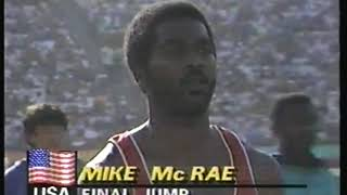 Photo of Olympics – 1984 – L A Games – Track & Field – Men Long Jump Qualifying – USA Mike McRae – Final Jump