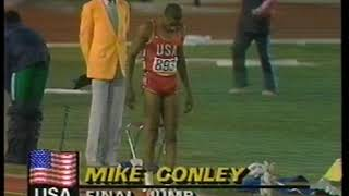 Photo of Olympics – 1984 – L A Games – Track + Field – Mens Triple Jump Finals – USA Mike Conley – 6th Jump