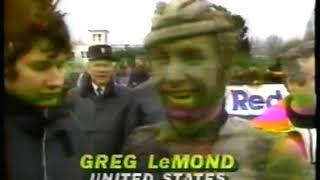 Photo of Cycling – 1985 – CBS Sports Almanac – Hilites Paris-Roubaix Race – With Bernard Hinauld + Greg LeMond