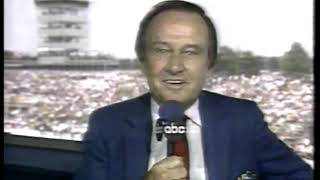 Photo of Auto Racing – 1986 – Indy 500 – Jim McKay Provides An Overview Of The Race At The End Of 139 Laps