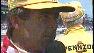 Photo of Auto Racing – 1987 – Indy 500 – Jerry Gappens Interviews Driver Rick Mears After Engine Failure