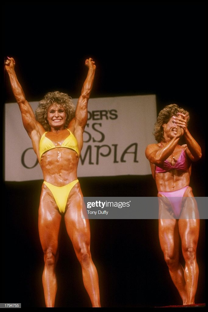Photo of Body Building – 1985 – Ms Olympia Awards Show – Cory Everson 1st + Mary Roberts 2nd + Di Dennis 3rd