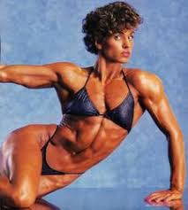 Photo of Body Building – 1985 – I F B B Womens World Championship – Featuring Marjo Selin – With Bruce Jenner