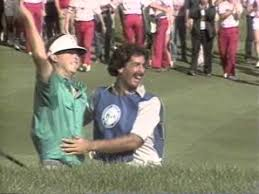 Photo of Golf – 1986 – PGA Golf Championship – ABCs Jack Whitaker Interviews Winner Bob Tway & Bunker Shot