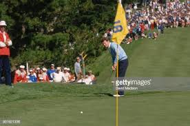 Photo of Golf – 1987 – US Open – Al Trautwig + Eventual Winner Scott Simpson Watch Tom Watson Attempt To Tie