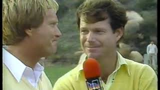 Photo of Golf – 1985 – Skins Game – Bob Goalby Interviews Nicklaus + Palmer + Watson + Zoeller At End Front 9