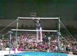 Photo of Gymnastics – 1979 – USA & USSR Exhibition – Women Uneven Bar – USA Marcia Frederick – With Jim McKay