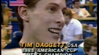 Photo of Gymnastics – 1985 – American Cup Championships – Winners Interviews – Tim Daggett + Mary Lou Retton