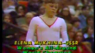 Photo of Gymnastics – 1979 – USA & USSR Exhibition – Womens Uneven Bars – USSR Elena Mukhina – With Jim McKay
