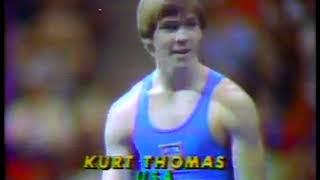 Photo of Gymnastics – 1979 – USA & USSR Exhibition – Mens Floor Exercise – USA Kurt Thomas – With Jim McKay