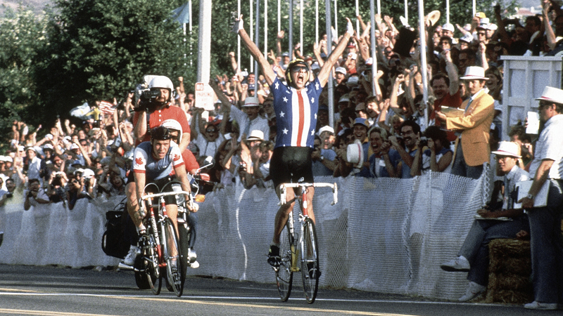 "Photo of L E's Stories – ""The Leaders….The Peleton….& Tortilla Flats"" – What A Perspective Of The L A Olympics Cycling Road Race"